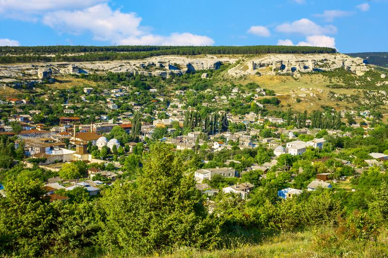 The historical center of the ancient city of Bakhchisarai on the Crimean Peninsula. The ancient city of Bakhchisarai on the Crimean Peninsula is located among royalty free stock images
