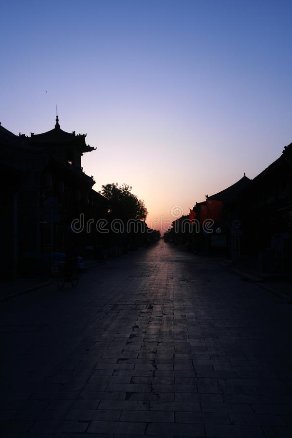 The ancient city in the early morning light stock image