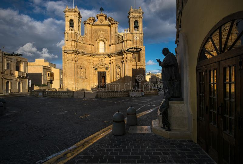 The ancient city of Gozo. Malta. Maltese style. Early morning on the island of Gozo stock images