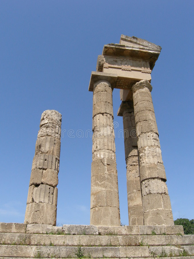 Ancient city in Greece. Pillars of the ancient building in Greece - temple to Athena stock photography