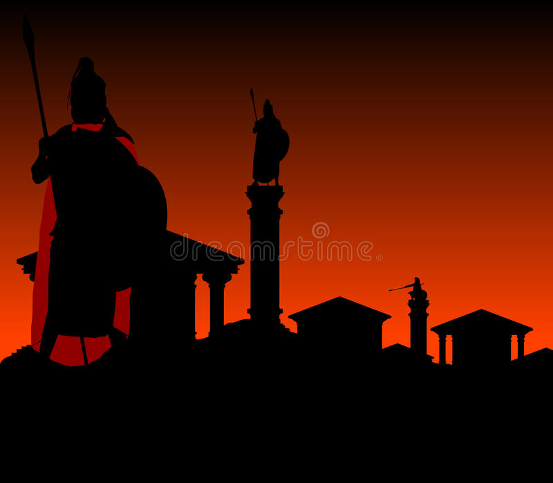 Ancient city with guardian stock illustration