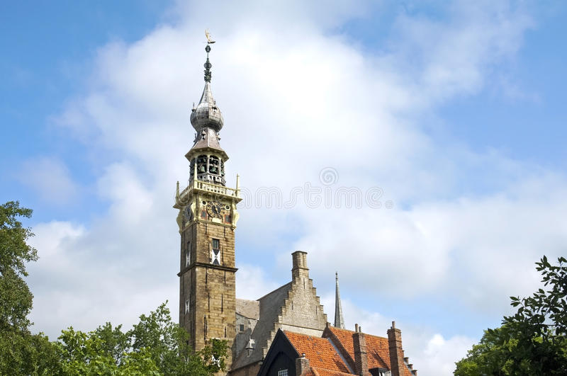 Ancient city hall of the Dutch place Veere stock image