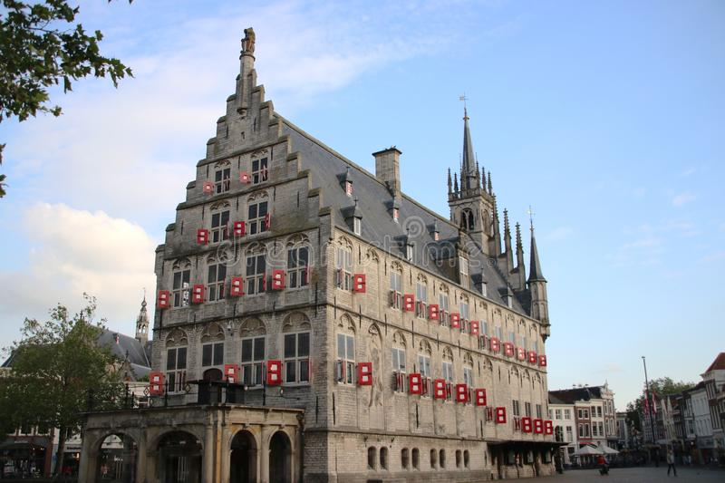 Ancient city hall on the market square of the town of Gouda in The Netherlands. Ancient city hall on the market square of the town of Gouda in The Netherlands stock image