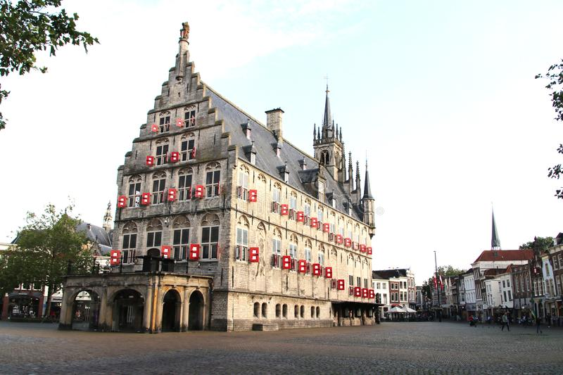 Ancient city hall on the market square of the town of Gouda in The Netherlands. Ancient city hall on the market square of the town of Gouda in The Netherlands stock images