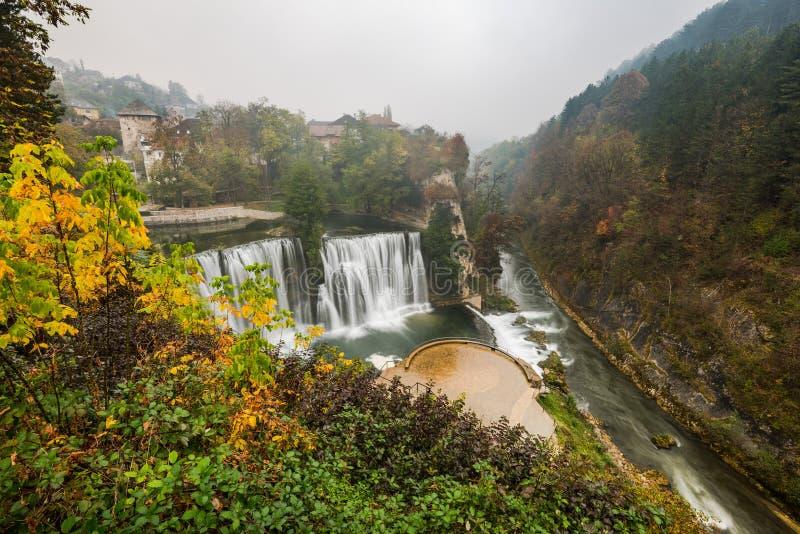 Ancient city of Jajce and waterfall, Bosnia and Herzegovina stock image