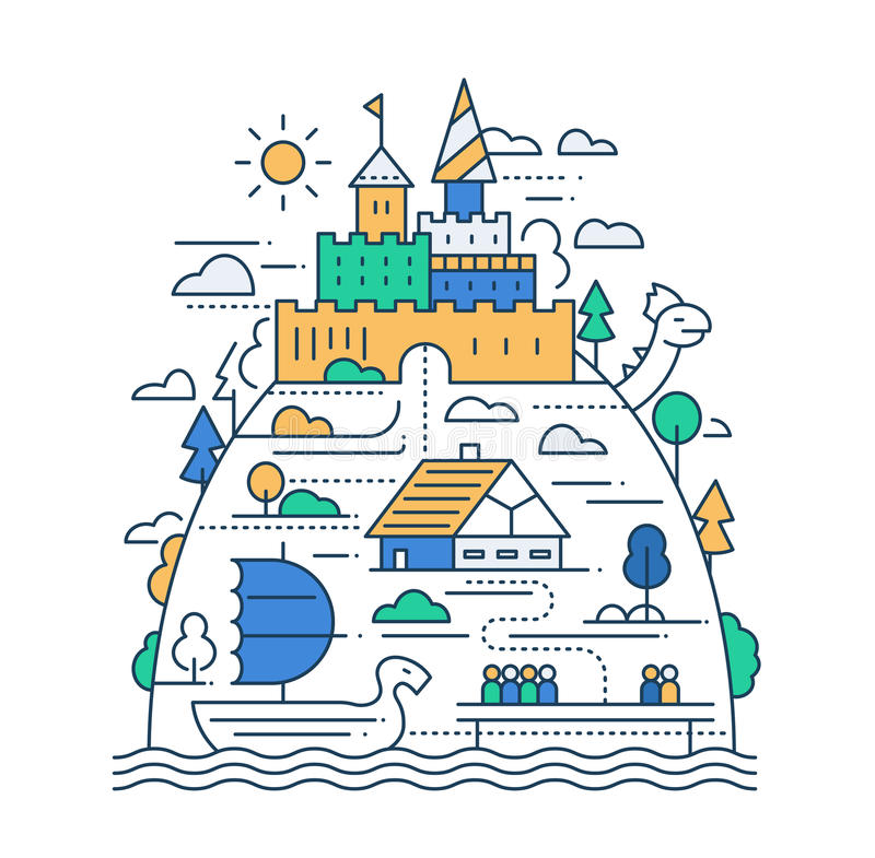 Ancient City Life - line design composition. Ancient life - vector modern simple line flat design city composition with historical buildings royalty free illustration