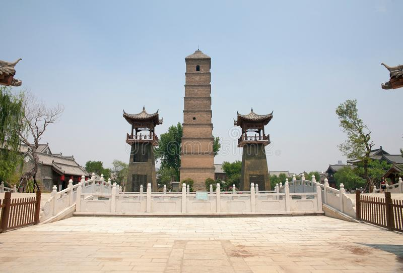 The ancient city of luoyi, luoyang, China - wenfeng tower. Luoyi city, luoyang, China - wenfeng tower, ancient architecture of qing dynasty royalty free stock image