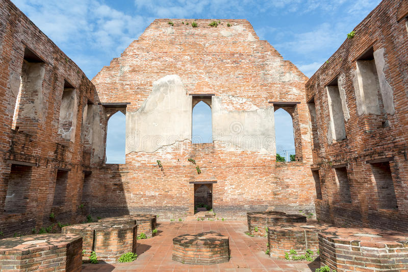 Ancient city n Ayutthaya historical park. Ancient city feature window frame, main hall and ruin pagoda at Kudi Dao temple in Ayutthaya historical park, Thailand royalty free stock photos