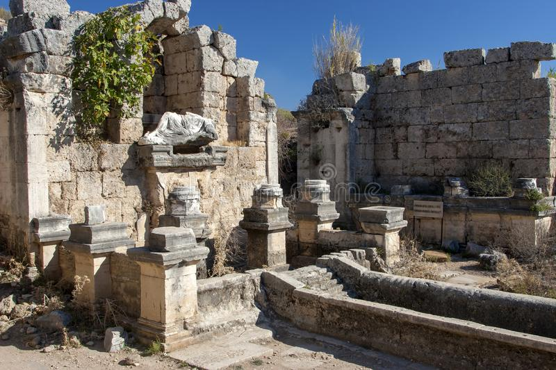 Ancient city of Perge, fountain and pool, Antalya, Turkey. royalty free stock photography