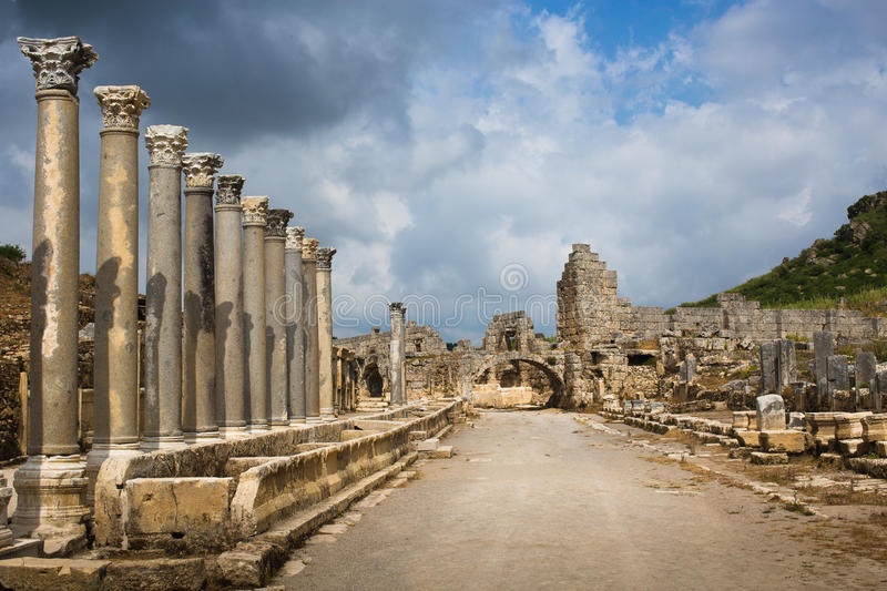 Ancient city of Perge stock photos