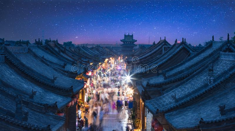 The Ancient City of Ping Yao. Pingyao ancient city, located in Pingyao County, central Shanxi Province, was built in the Zhou Xuanwang period from 827 BC to 782 stock photography