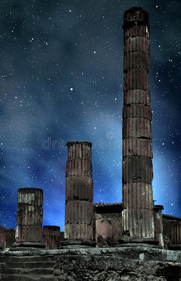 Ancient city of Pompeii in night, Italy. royalty free stock photos