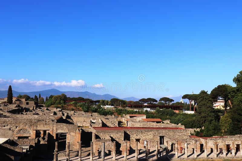 Ancient city of Pompeii, ruins panoramic view. Pompei Italy. Ancient city of Pompeii, ruins panoramic view on sunny day. Pompei Italy on Summer royalty free stock images
