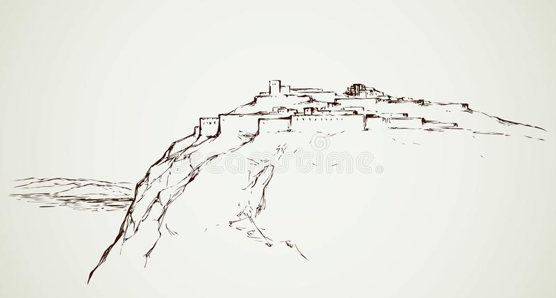 Ancient city on rock. Vector drawing. Old eastern judean biblical view of stone wall palace ruin on mount at sea. Freehand outline ink hand drawn aged judaic royalty free illustration