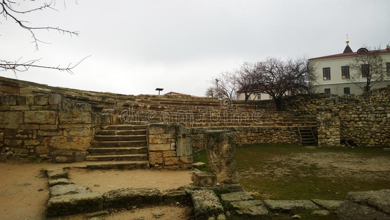 Ancient city of Tauric Chersonese - the amphitheatre stock images