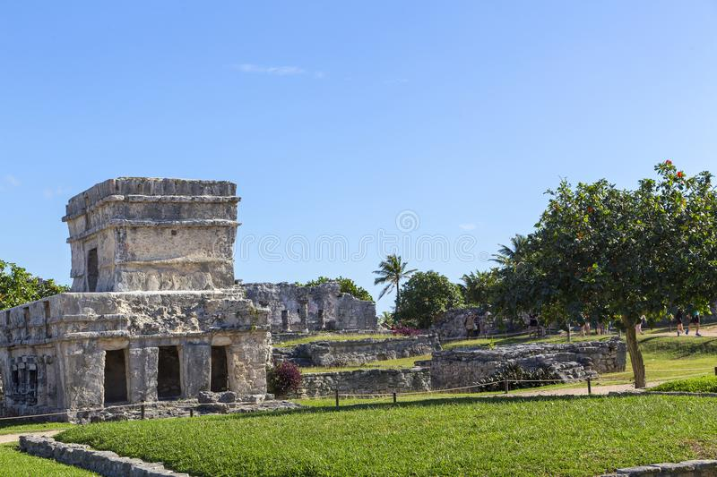 The ancient city of Tulum in Mexico on the ocean coast. royalty free stock image