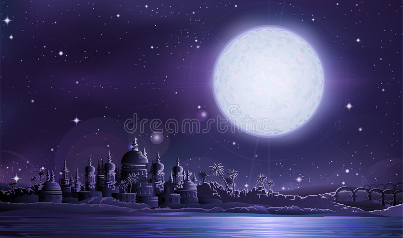 Ancient city under full moon stock illustration