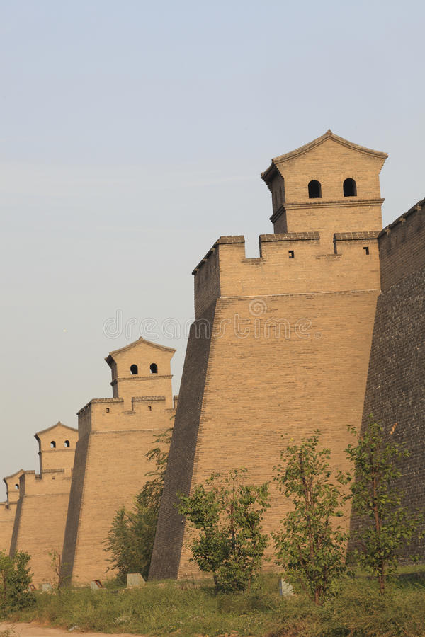 Ancient city wall. World Heritage in China Pingyao ancient city wall stock image