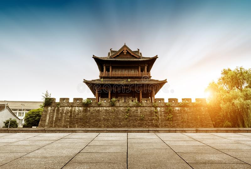 Ancient City Wall. Shaoxing ancient city wall and moat, China Zhejiang.Translation:`Concentric, accumulate strength royalty free stock photography