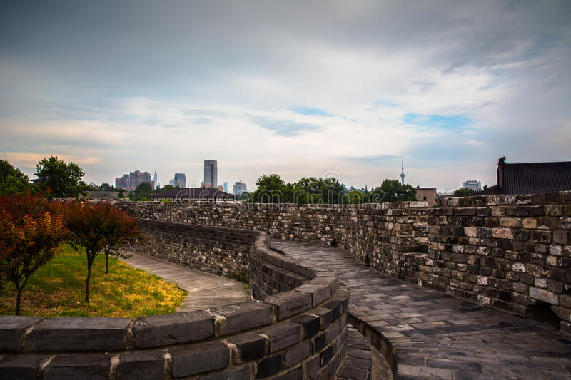 Ancient city wall in Nanjing. Jiangsu Province, China, which was build during Ming dynasty royalty free stock photos