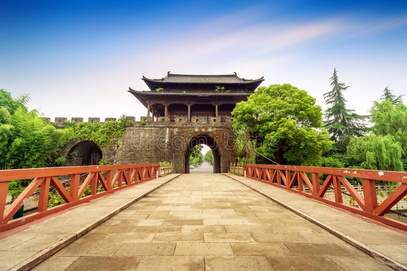 Ancient City Wall. Shaoxing ancient city wall and moat, China Zhejiang stock photo