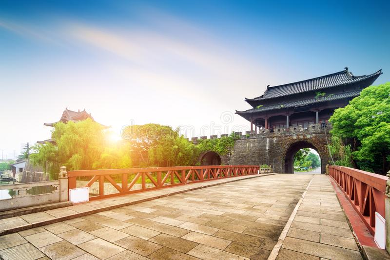 Ancient City Wall. Shaoxing ancient city wall and moat, China Zhejiang stock photography