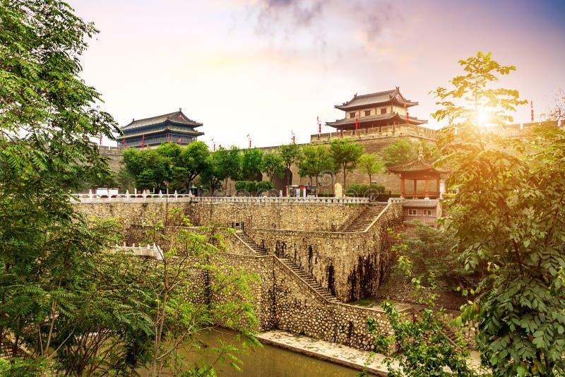 Ancient City Wall. Xi `an ancient city wall and moat, China Shaanxi stock photos