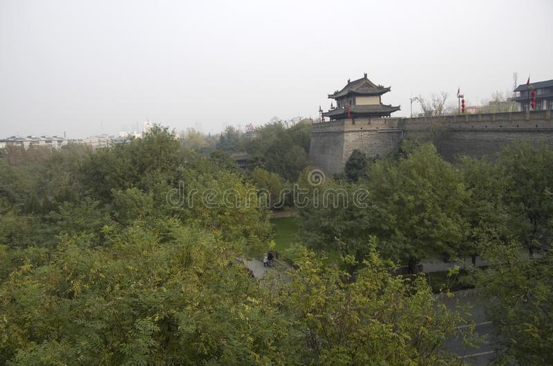Ancient city wall Xi`an China, Shanxi. The Ancient city wall in Xi`an was first built a thousand years old. It is been repaired for people to walk around the stock photo