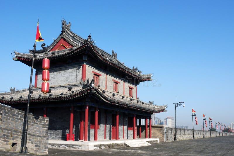 Ancient city wall of Xian, China stock image