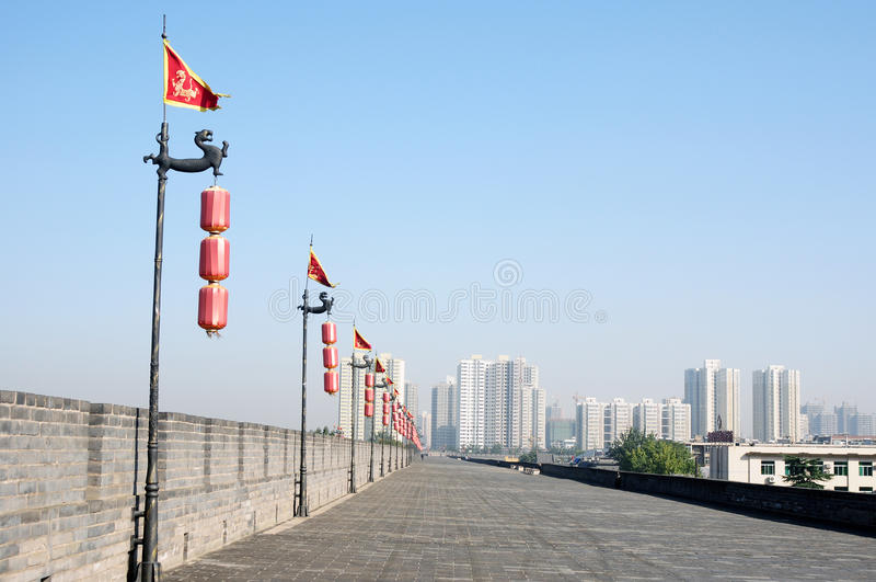 Ancient city wall of Xian, China royalty free stock photo