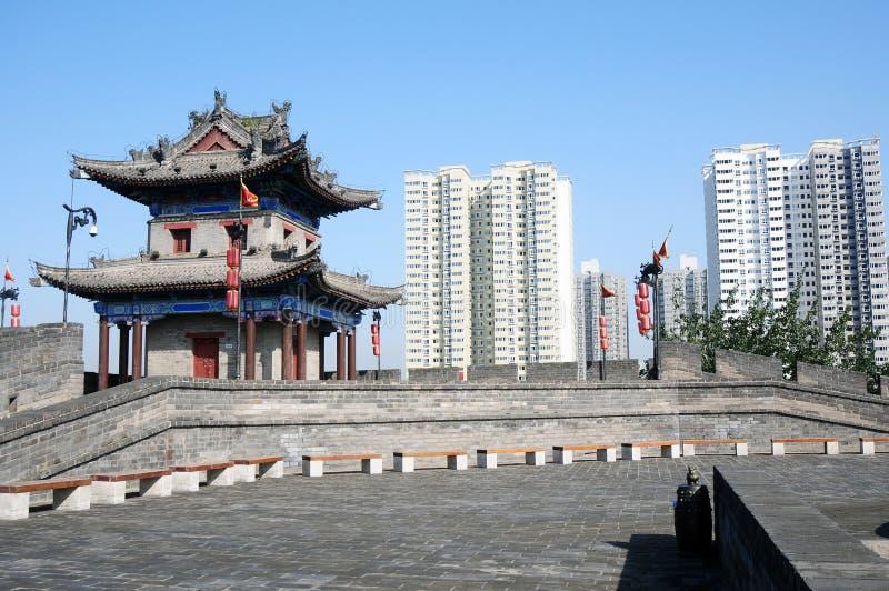 Ancient city wall of Xian, China royalty free stock photography