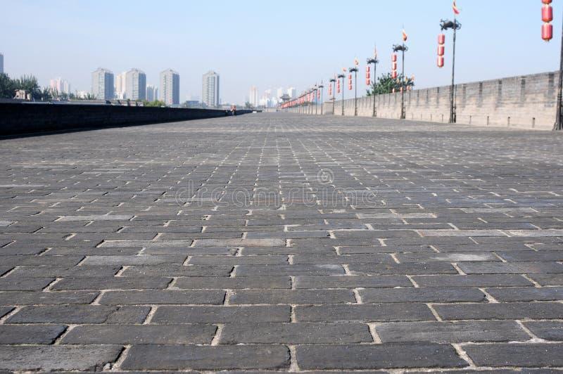 Ancient city wall of Xian, China royalty free stock photos