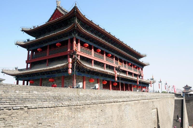 Ancient city wall of Xian, China stock photography