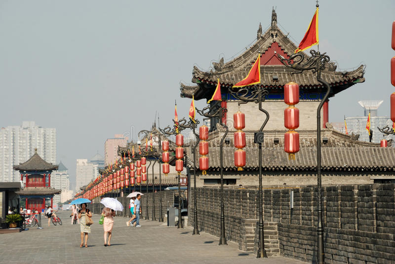 Download Ancient city wall in xian editorial stock photo. Image of city - 32393373