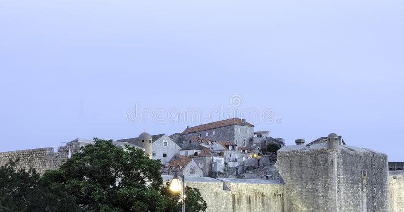 Ancient city walls and old town on the hill in Dubrovnik, Croatia royalty free stock images