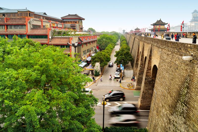 Ancient City Walls in Xi`an stock photography