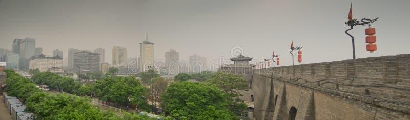 Ancient city walls of Xian, China royalty free stock images