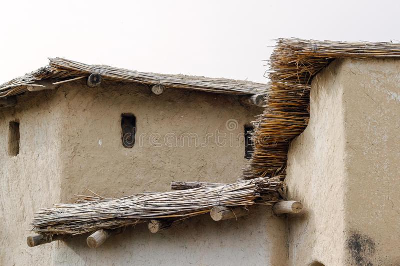 Thatched Roof And Orange Wall Stock Photo Image Of
