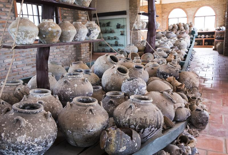 Ancient clay jugs. In museum royalty free stock photos