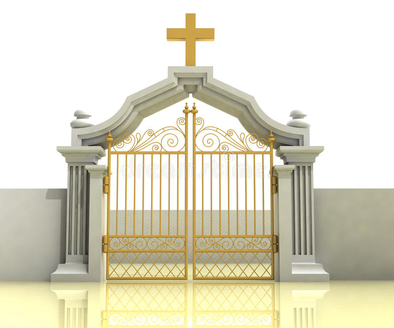 Ancient closed entrance with gold cross above royalty free illustration