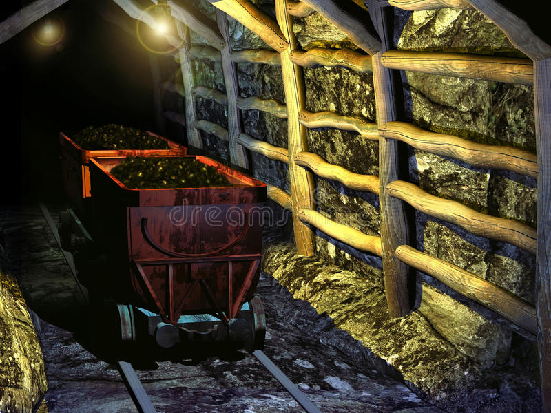 Ancient coal mine. Interior of an ancient coal mine royalty free illustration