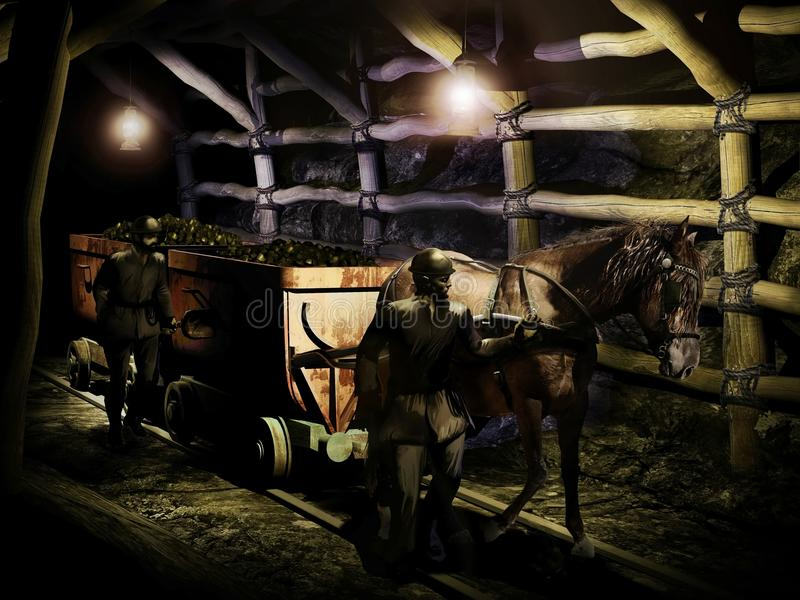 Ancient coal mine. Interior of an ancient coal mine, where horses were used to pull wagons stock illustration