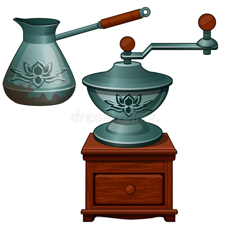 Ancient coffee grinder and cezve. The equipment necessary for preparation of coffee. Vintage turk. Vector isolated royalty free illustration