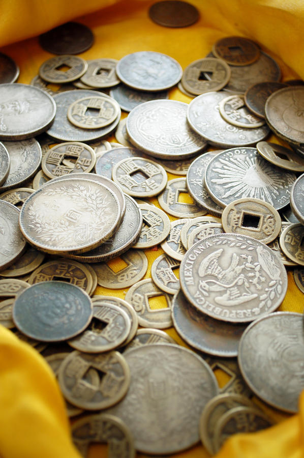 Ancient Coin. Pile in treasure ground stock photos