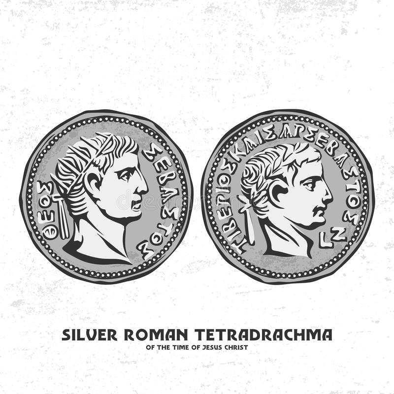Ancient coin. Silver Roman tetradrachma of the time of Jesus Christ. Perhaps for such silver coins, Judas betrayed Christ.  vector illustration