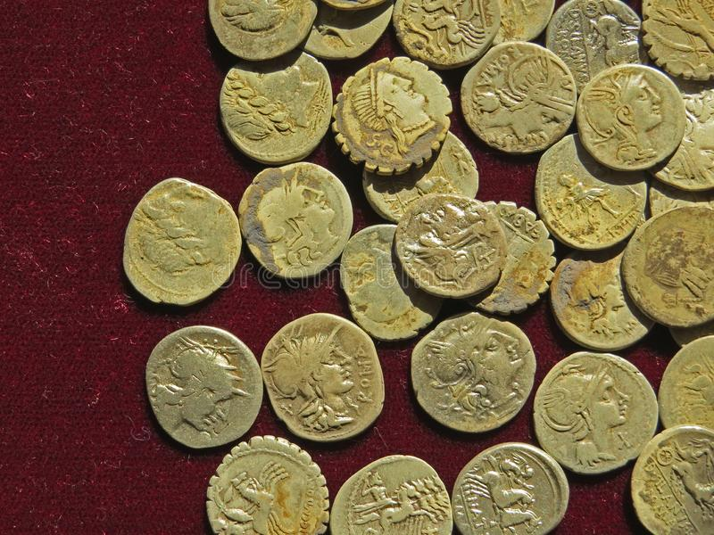 Ancient coin treasure. Stamped golden round money. Bunch of ancient coin treasure. Stamped golden round money stock photos