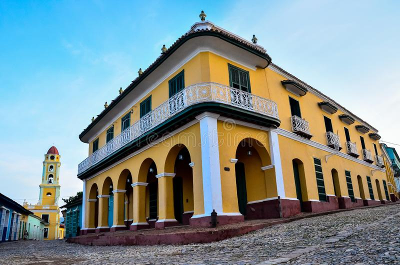 Ancient colonial-style cathedral, in typical Cuban town royalty free stock photo