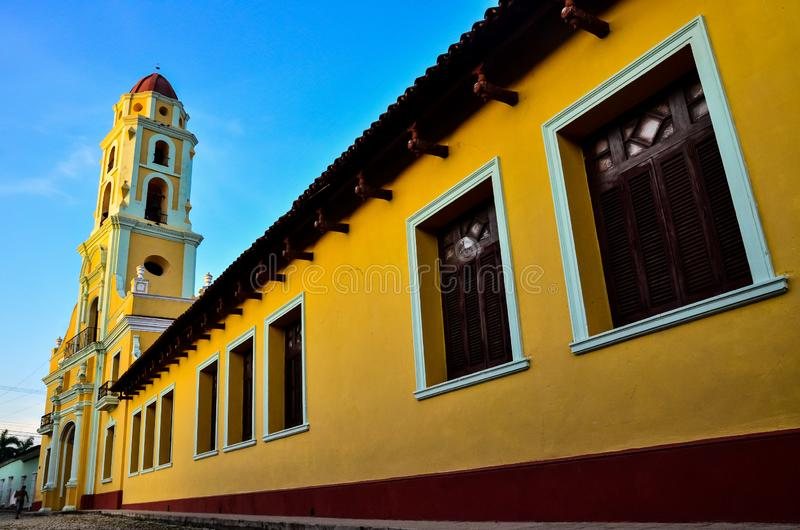 Ancient colonial-style cathedral, in typical Cuban town stock photos