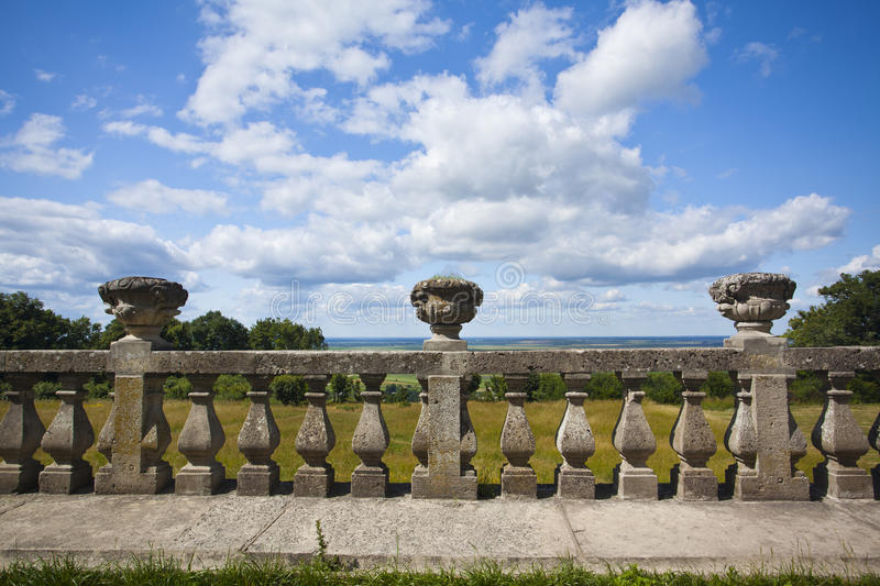 Ancient colonnade. In Ukrainian castle royalty free stock image