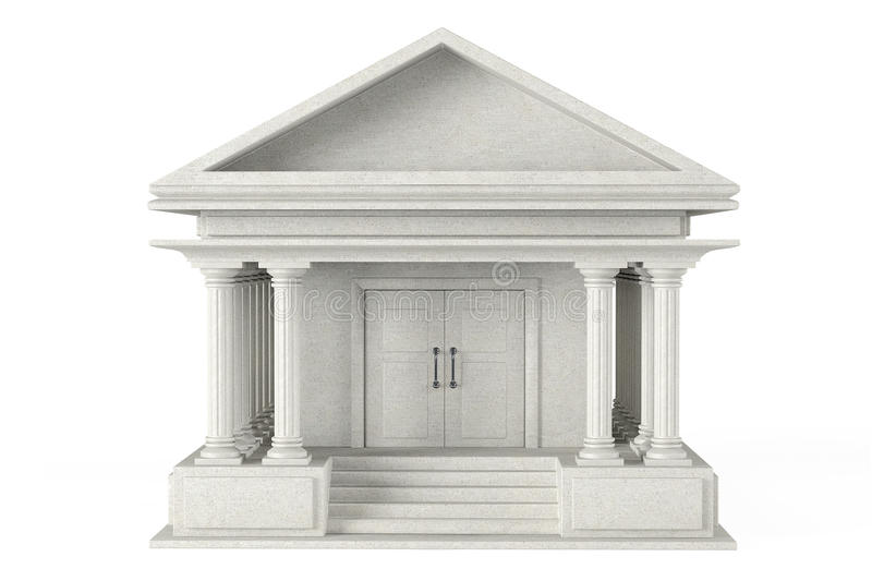 Ancient Colonnade Building. On a white background stock illustration